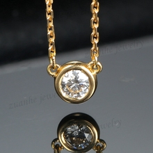 Solid 14k Yellow Gold SI Natural Diamond Women Engagement Fine Necklace Pendant