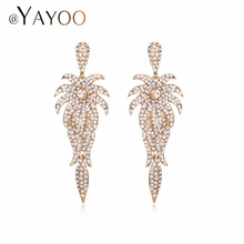 AYAYOO Dangle Earring Gold Color Coconut trees Imitation Crystal  Earrings Women Gifts Jewelry Party Fashion Wedding Accessories