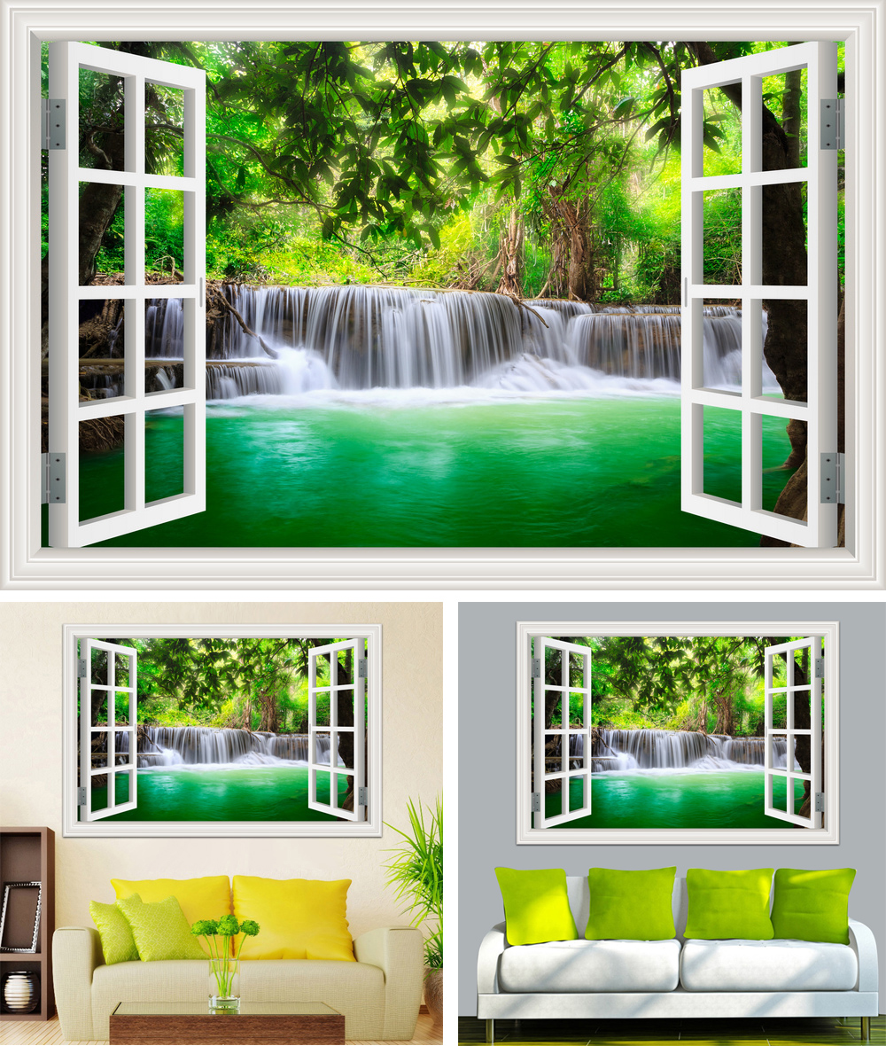 HTB1VlnMcTfN8KJjSZFjq6xGvpXal - Waterfall 3D Window View Wallpaper Nature Landscape Wall Decals for Living Room