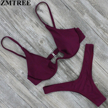 ZMTREE Brand New Design Solid Swimwear Women Bikini Set Sexy Bandage Bathing Suit Push Up Brazilian Bikini 2017 Swimsuits