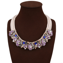 Ethinc Hyperbole Lavender Crystal CZ Flower Necklace Handmade Maxi Necklace For Women Vintage Jewellery mujer bijoux Accessories