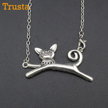"Trusta 2017 New Hot Men/Women Jewelry Vintage Silver Cute Cat Pendant Long Necklace 18"" For Wholesale Free Shipping DIY18(China)"