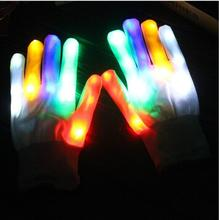 Free shipping 7Modes Magic white glove Rainbow Flash Fingertip LED Gloves Unisex Light Up Glow Stick Gloves Mittens Hot(China)