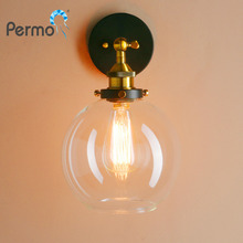 "PERMO 7.9"" Vintage Industrial Sconce Wall Lights Globe Glass Shape Loft Wall Lamp E27 Base New Year Christmas Lights Fixtures(China)"