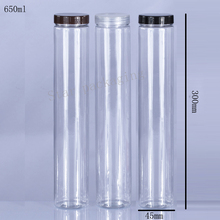 20pcs 650ml Transparent cylindrical bath salt  Candy packaging bottle Aluminium lid/Plastic lid test tube bottle