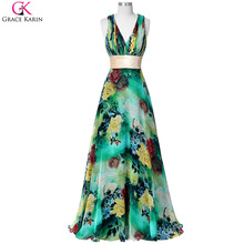 Grace Karin Prom Dresses Halter V Neck Sleeveless Backless Floral Print Pattern Long Formal Gowns Sexy Wedding Party Dress Prom