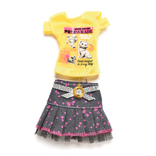 New Doll Clothes Fashion Outfit Jeans Skirt Cartoon Printing Clothesing For Barbie Doll Girl Favourite Gift Party Gown(China)
