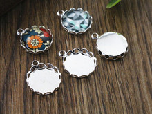 20pcs 12mm Inner Size Silver Plated Brass Material Simple Style Cabochon Base Cameo Setting Charms Pendant Tray (A2-20)