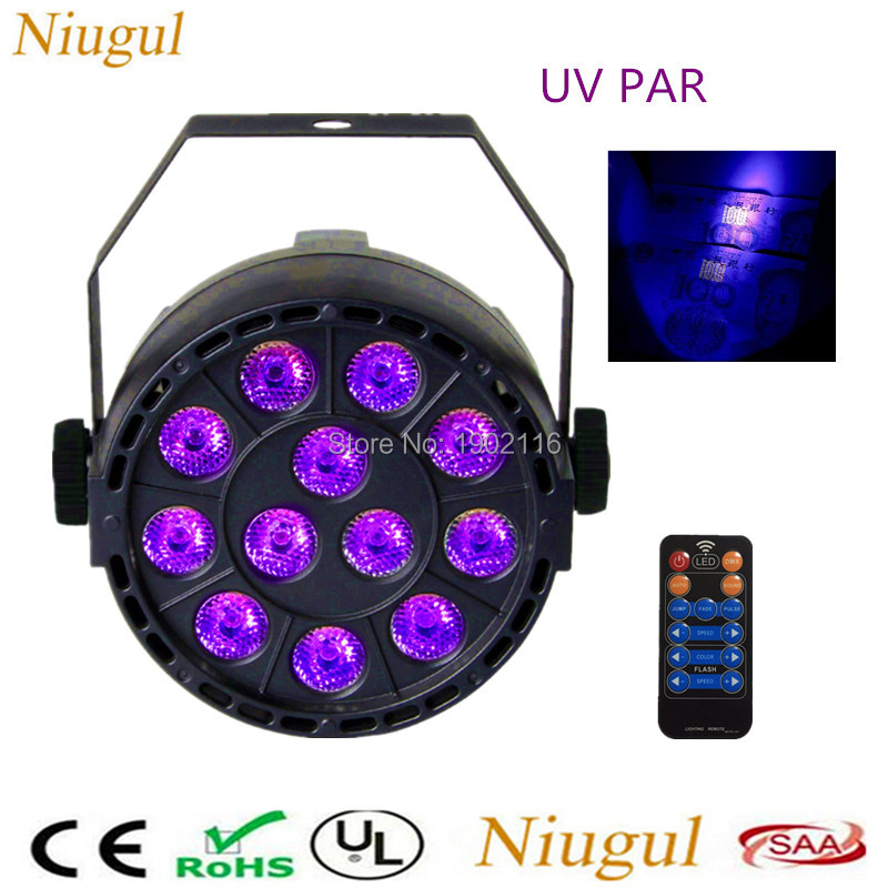 With Remote control 36W 12 LEDs Sound Active UV Led Stage Par Light Ultraviolet Led Spotlight Lamp for party Disco DJ Projector <br>