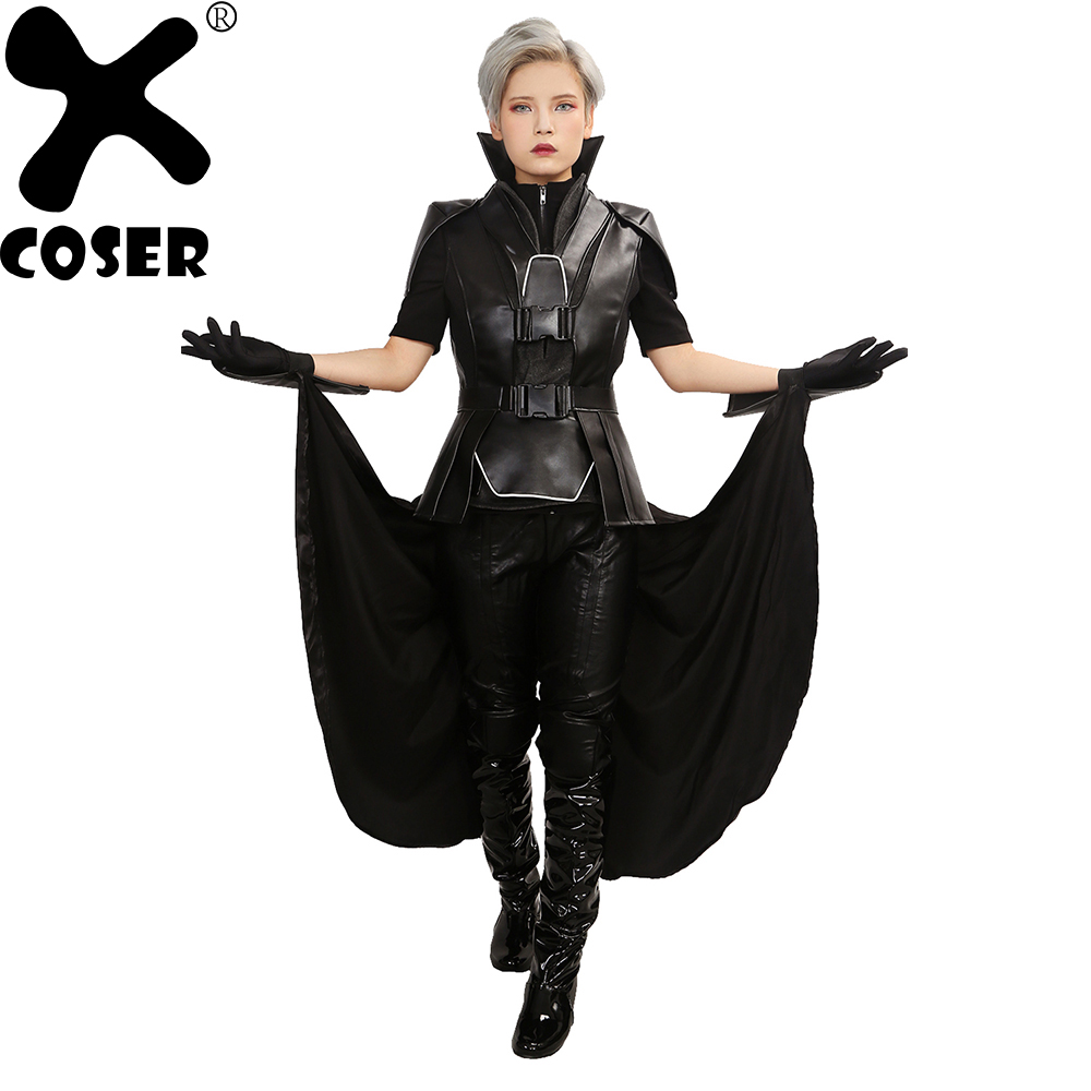 XCOSER Brand New X-Men Apocalypse Storm Female Movie Cosplay Costume Outfit 2019 Women Cool Black PU Leather Cosplay Full Set