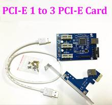 20set/lot External Internal 1 to 3 PCI express PCI E 1X slots Riser Card Expansion adapter PCI-E Port Multiplier VER005