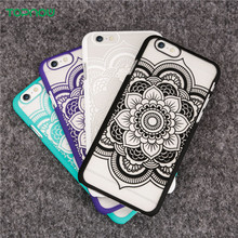 Colorful Hard Plastic Phone Cases Henna Mandala China Style Flower Pattern for iPhone 6 6S 6Plus 6sPlus Back Protect Cover