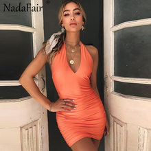 Buy Nadafair Backless Halter Deep V Neck Sexy Club Bodycon Summer Dress Women Mini Sleeveless Casual Vestidos Elegant Party Dresses