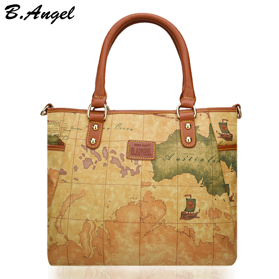High quality world map women bag fashion women messenger bags High capacity school bags brand design tote bag Casual Handbag<br>