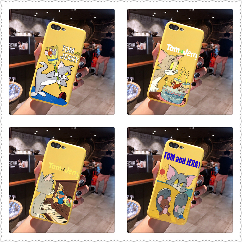 Cartoon Tom Jerry Stitch Candy Color TPU Case phone For iphoneX 7 8 XS XR XSMAX Red Yellow purple Cover