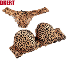 DKERT ABC G String Sexy Leopard Women Bra Set Hollow Out Push Up ABC Lace Thong Underwear Panty Luxury Bra Brief Set K1393(China)