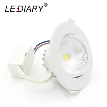 LEDIARY High Quality Round Recessed Led Downlights COB LED Spot Lamp Real >5W 100V-240V Angle Adjustable Under Ceiling Lamp