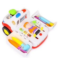 Children Ambulance Doctor Vehicle Set with Lights and Music Plastic Simulation Toys Ambulance Car Electric Pretend Doctor Set(China)