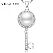YIKALAISI 2017 Pearl Jewelry Natural Freshwater Pearl Key Statement Necklace Pendants 925 Sterling Silver Jewelry For Women Gift