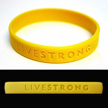 "Free Shipping 10pcs ""LIVE STRONG"" Sport Wristband Motivational Hologram Bracelets Adult Teenager Bracelet Outdoor Yellow(China)"