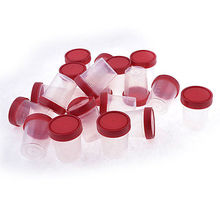 20pcs Red Clear Plastic Round Shape Urine Test Cups Holder 120mL w Cover