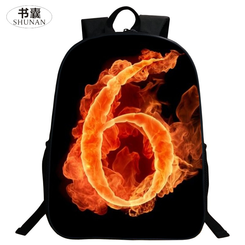 SHUNAN Brand Polyester Cute 16 Inch Printing Mythical Animals Flame Number 6 Boys School Bags for Teenagers Boys School Backpack<br><br>Aliexpress
