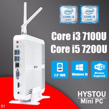 Win10 Mini PC HYSTOU Core i3 7100U  MAX 16GB RAM 512GB SSD Alloy case Tablet computer hdmi vga fanless Nepttop core i5 7200U
