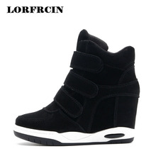 Hot sale Autumn Style Women Shoes Hidden Wedge Heels Boots Women's Elevator Shoes Casual Shoes For Women Ankle Boots LORFRCIN(China)