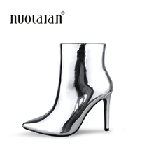 newest women boots sexy high heels ankle boots women fur warm boots winter autumn woman shoes plus size 4-11