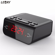 LEORY Compact Digital FM Radio Backlight Time Display Radio Home Office Desktop with Buzzer Snooze Sleep Alarm Clock Function(China)