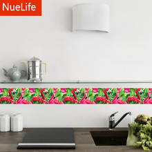 Flamingo animal pattern waist wall wash Taiwan kitchen living room bedroom bathroom Home Furnishing decorative stickers