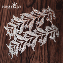 HIMSTORY Rose Gold CLEAR RHIESTONE CRYSTAL LEAVES DESIGNS HAIR TIARA CROWN BRIDAL WEDDING PARTY HAIR ACCESSORY
