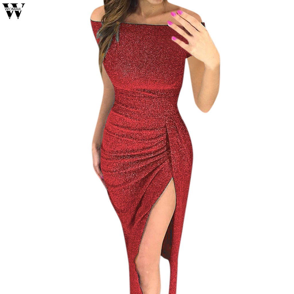 Detail Feedback Questions about Sexy Dress Plus Size Winter Dresses Party  Night Club 2018 Autumn Women With Slit Ladies Dress Slash Neck Long Sequin  Dress ... 6144a4600f40