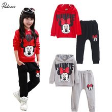 2017 New Kids Baby Girls Minnie Mouse Cartoon  Long Sleeve Hoodies+Pants 2pcs Outfits Set Sports Print cotton Clothes