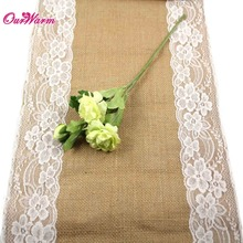 10pcs Jute Burlap Lace Hessian Table Runner 30cm x 275cm Vintage Event Party Supplies Lace Table Runner for Wedding Accessories