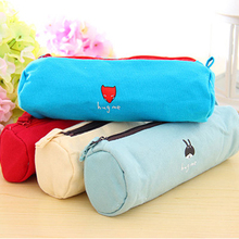Free Shipping canvas cartoon fabric pencil pouch pen bags cosmetic bag(China)