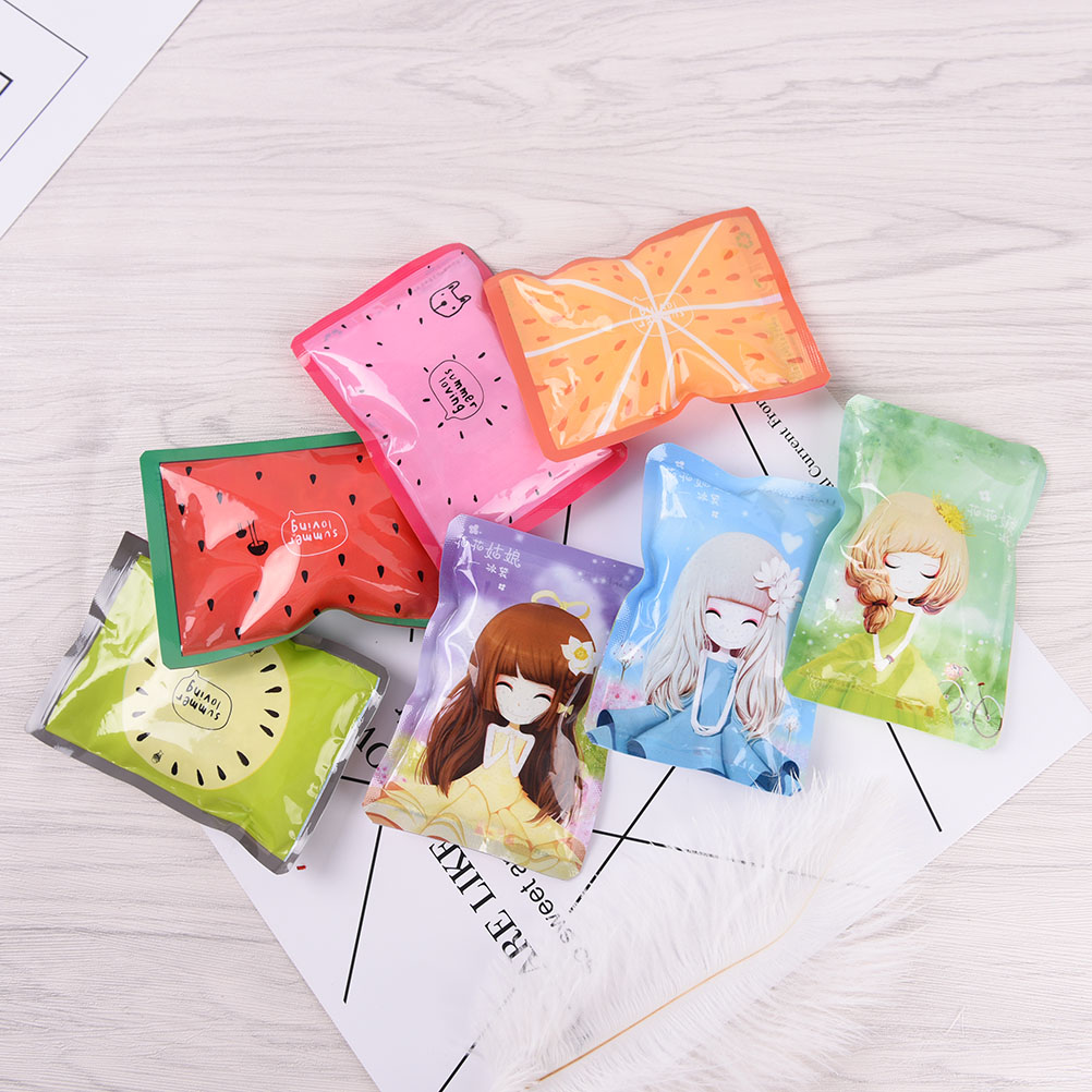 Cute 50g Summer Cold Cooler Bags Cartoon Fruit Reusable Gel Ice Bag Cool Pack Health Care Pain Relief Random 1PC