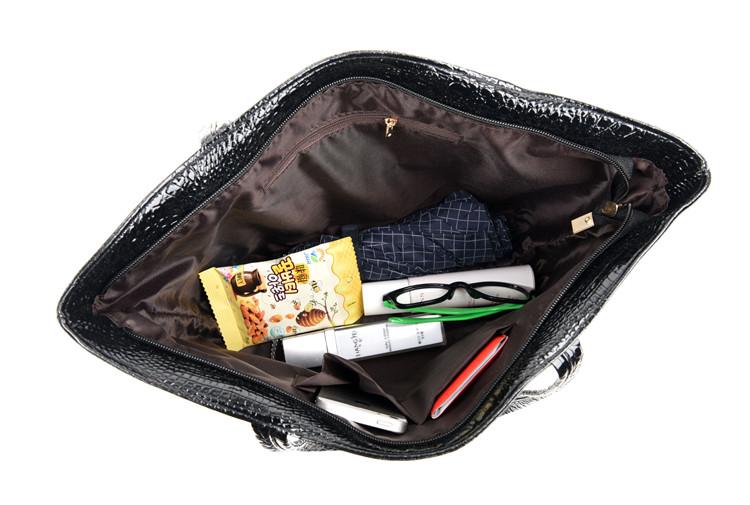 Brand Fashion Casual Women Shoulder Bags Silver Gold Black Crocodile Handbag PU Leather Female Big Tote Bag Ladies Hand Bags Sac 16
