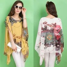 Fashion Women Chiffon Batwing Sleeve Sexy Loose Floral Tops Casual Shirt Blouse