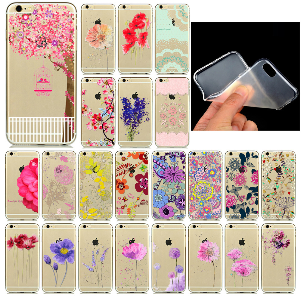 Best Selling Phone Cases for Apple iphone 6 6s fundas Soft Sillicon Transparent TPU Colorful Flowers Love Patterns Back Cover(China (Mainland))