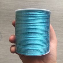YUMUZ 2mm blue Satin Nylon Cord Knotting cord Jewelery supplies For Necklace Jewelry Crafts 100 meter