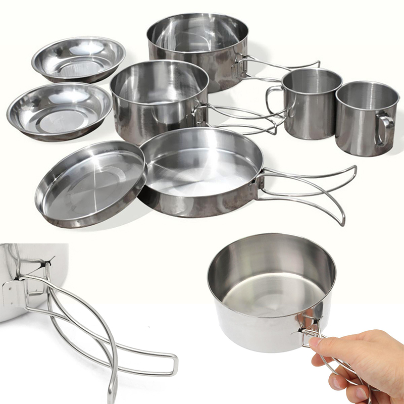 Mayitr 8Pcs Stainless Steel Outdoor Camping Picnic Pot Pan Kit Camping Backpacking Hiking Cookware Set High quality