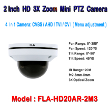 1080P 2Inch 3X Auto Zoom 2.8-8mm motorized zoom len mini ptz dome cameras over coax, 2MP AHD TVI CVI CVBS 4 In 1 PTZ Dome Camera
