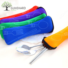 GUHEHARD Portable Stainless Steel Tableware Camping Bag Picnic Juegos De Vajillas Lancheira 3pcs/set(China)