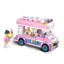 Movable Ice Cream Truck Van Building Block Toys Pink Dream Girl Boss Mini type City Series child gift child toy