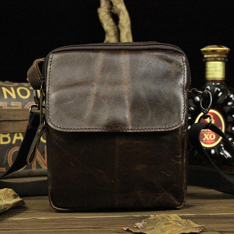 Mens Genuine Cowhide Leather Crossbody Shoulder Sling Bag Casual Handbag Messenger Bag For Man Male LD045<br>