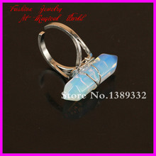 1Pc Nature Opal Opalite Moonstone Point Gems Ring Wire Wrapped Silver Ring Adjustable Circle,Hexagon Druzy Gems Ring(China)