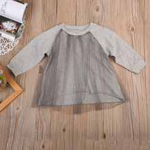 2017 Hot Toddler Infant Baby Girls Clothes Cute Baby Girl Lace A Line Long Sleeves Tulle Dress Casual Baby Autumn Clothing(China)