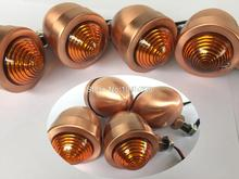 RPMMOTOR 4x Custom Copper Anodized Billet Aluminum Bullet Shape Panhead Turn Signal Light Mounting For Harley