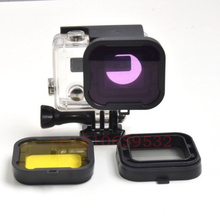 New 2In1 yellow & Grey color Diving polarizer UV lens filter for mini camcorder GoPro hero 3+ Hero 4 Go pro accessories